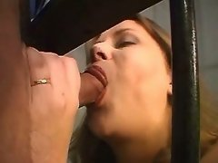 Busty milf suck three dicks in cage