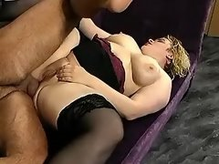 Curly fatty gets cumload in mouth