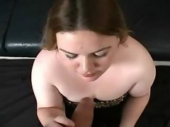Flabby amateur fatty blowing cock