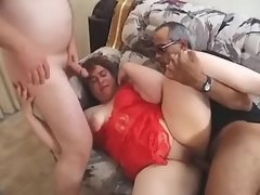 Guys share fat lady in red lingerie