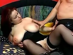 Lusty plump chick sucks hard dick