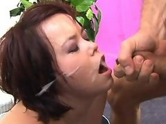 Teen plumper gets cumload on face