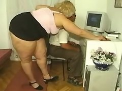 Fat blonde sucks cock of horny man